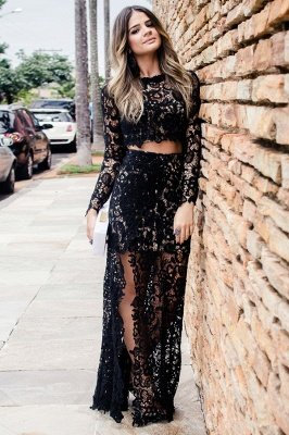 Two-Pieces Long-Sleeves Slit Lace Evening Dress_2