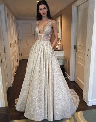 Sexy V-Neck Sleeveless Prom Dress Long Sequins BA3399_3