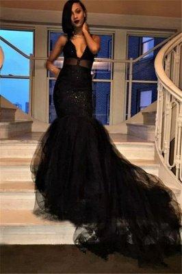 Sexy V-Ausschnitt Mermaid Black Prom Kleider Tüll Pailletten Abendkleider SK0126_1
