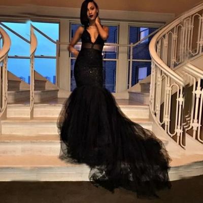 Sexy V-Ausschnitt Mermaid Black Prom Kleider Tüll Pailletten Abendkleider SK0126_3
