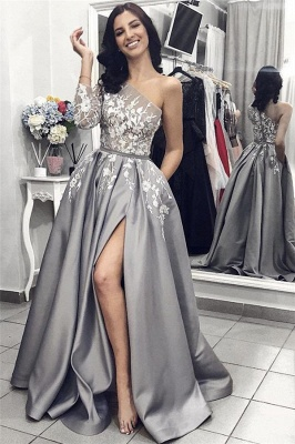 One Sleeve Sexy Slit Prom Dresses | Silver Grey Lace Appliques Long Evening Dresses_1