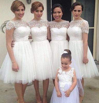 Manches courtes longueur au genou tulle robe de soirée de mariage pas cher en dentelle courte robe de demoiselle d'honneur_3