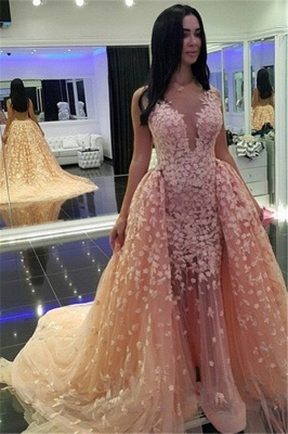 Sexy Pink Mermaid Puffy Formal Dresses |Detachable Train Dubai Arabic Evening Dresses_1