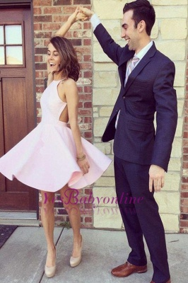 Simple Pink Homecoming Dresses Halter Open Back Short Graduation Dress_1