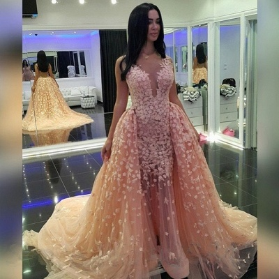Sexy Pink Mermaid Puffy Formal Dresses |Detachable Train Dubai Arabic Evening Dresses_2