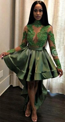 Sexy See Through Lace Long Sleeve Prom Dress | Hi-lo Dark Green Evening Dress_4