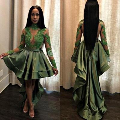 Vestido de fiesta de manga larga con encaje sexy | vestido de noche verde oscuro Hi-Lo barato_3