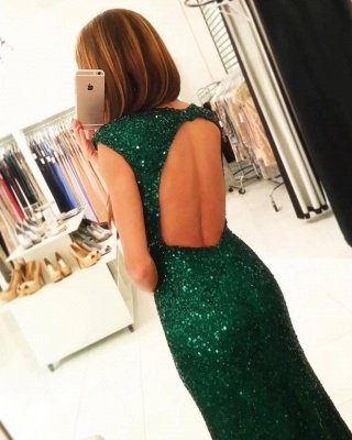 Sparkling Green Sequins Open Back Prom Dress | Sexy Slit Sheath Evening Gowns_3
