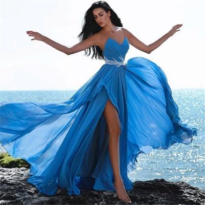 Robes de soirée chérie bleu abordables | Crystals Side Slit Robe De Bal Pas Cher_3