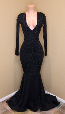 Elegante V-Ausschnitt mit langen Ärmeln Applikationen Pailletten Mermaid Zipper Prom Dresses_1