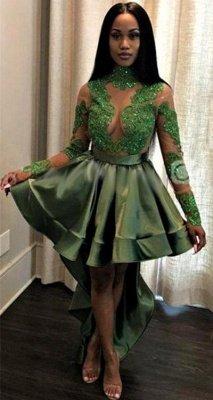 Sexy See Through Lace Long Sleeve Prom Dress   Hi-lo Dark Green Evening Dress_1