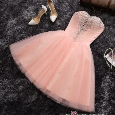 Lentejuelas cuentas vestidos de fiesta cortos | Sweetheart Coral Pink Hoco Dress BA6909_3