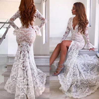 Sexy Long Sleeve V-Neck Prom Dress | Lace Evening Party Dress With Slit_4
