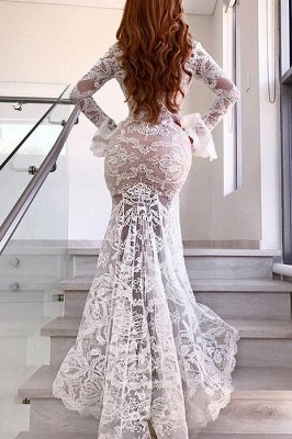 Sexy Long Sleeve V-Neck Prom Dress | Lace Evening Party Dress With Slit_3
