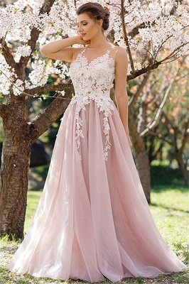 Lace Appliques Pink Tulle Formal Dress Sleeveless Sheer Tulle Prom Dress