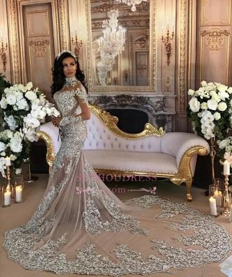 Vestido de noche de cuello alto de manga larga con cuello en V popular de sirena de encaje vestidos de novia de lujo BH-362_1