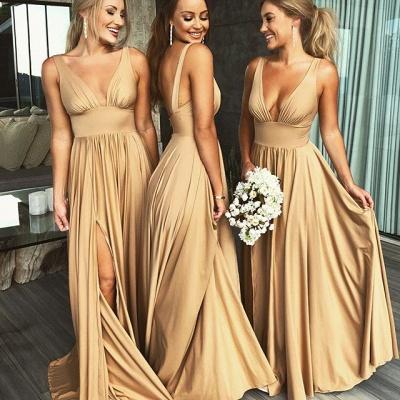 Elegantes V-Ausschnitt ärmelloses Brautjungfernkleid   Brautjungfernkleid 2019 mit Schlitz_5