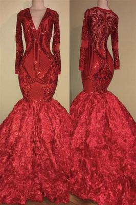 Apliques de brilho sexy com decote em v em forma e vestido de baile floral | Elegante manga comprida vestido escarlate de luxo para o baile_1