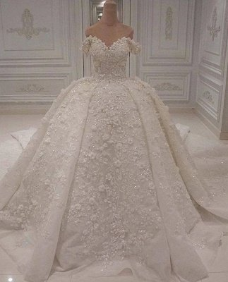 Charming Off-The-Shoulder Lace Beaded Ball Gown Wedding Dress BC1308_1