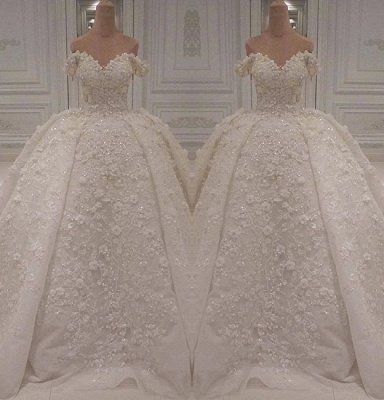 Charming Off-The-Shoulder Lace Beaded Ball Gown Wedding Dress BC1308_2