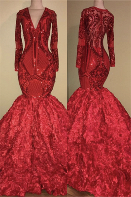 Sexy V-neck Sparkle Appliques Fit and Flare Floral Prom Dress | Elegant Long Sleeve Luxury Scarlet Dress for Prom