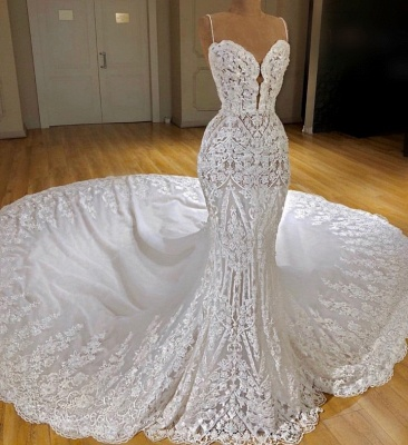 Sexy Lace Mermaid Wedding Dresses | Spaghetti Straps Appliques Bridal Gowns_3