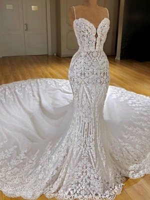 Sexy Lace Mermaid Wedding Dresses | Spaghetti Straps Appliques Bridal Gowns