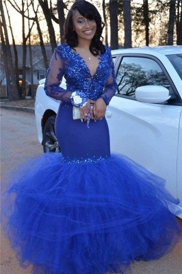 V-neck Royal Blue Tulle Mermaid Prom Dress Cheap | Long Sleeve Beaded Sexy Graduation Dresses bc1772
