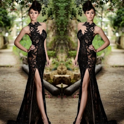 Sexy Black Prom Dress| Mermaid Evening Dress With Slit_4