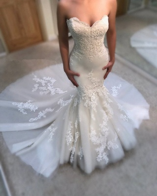 Liebsten Meerjungfrau Tüll Brautkleid mit Spitze   Sexy Liebsten Günstige Brautkleider Online 2019_3
