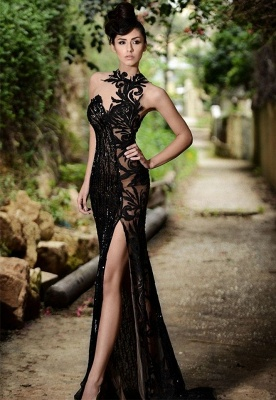 Sexy Black Prom Dress| Mermaid Evening Dress With Slit_1