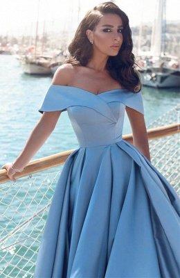 TORRIE | Ball Gown Off-shoulder Floor Length Blue Prom Dresses_4