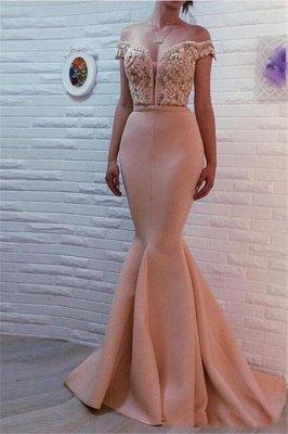 Sirena fuera del hombro sexy vestidos de fiesta con cuentas | Vestidos de noche baratos largos en línea_1
