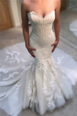 Sweetheart Mermaid Wedding Dress Cheap Online | Sexy Strapless Lace Bridal Gowns