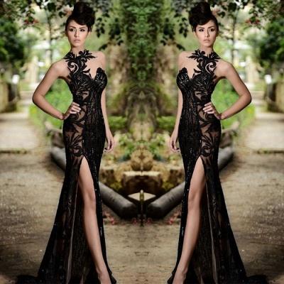 Sexy Black Prom Dress| Mermaid Evening Dress With Slit_4