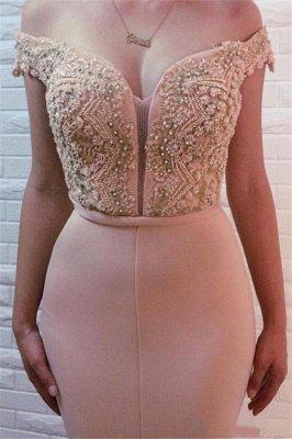 Sirena fuera del hombro sexy vestidos de fiesta con cuentas | Vestidos de noche baratos largos en línea_3