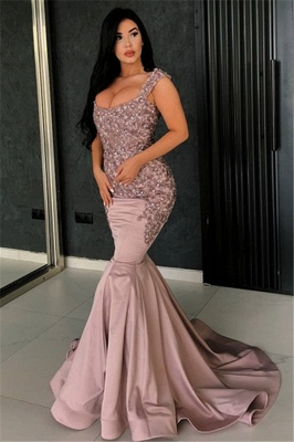 Sexy Pink Mermaid Evening Dress   Straps Appliques Long Formal Dresses_1