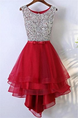 Glamorous  Sleeveless Short Homecoming Dresses | Sequins Red Cheap Homecoming Dresses Online