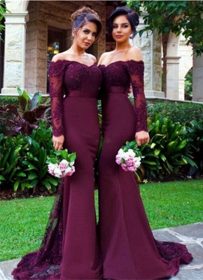 Elegant Off-the-shoulder Mermaid Lace-Appliques Beads Long-Sleeve Bridesmaid Dress_3