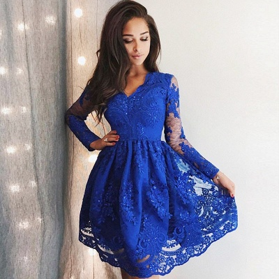 Cute Royal Blue Lace Long Sleeve Homecoming Dress |  Short Hoco Dresses_3