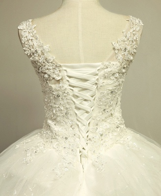 V-Neck Stunning Crystal Wedding Dresses Floor Length Ball Gown Lace-Up Charming Bridal Gowns_3