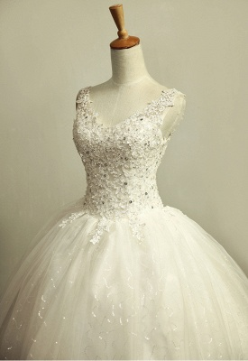 V-Neck Stunning Crystal Wedding Dresses Floor Length Ball Gown Lace-Up Charming Bridal Gowns_2