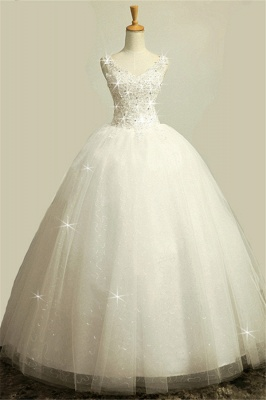 V-Neck Stunning Crystal Wedding Dresses Floor Length Ball Gown Lace-Up Charming Bridal Gowns_1