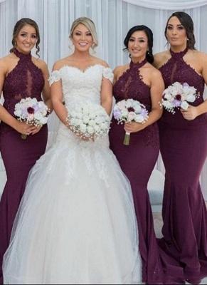 Maroon Холтер Аппликации Платья для подружек невесты   Русалка без рукавов свадебное платье_2