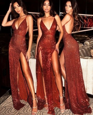 Sexy Sequined Spaghetti Strap Front Split Evening Gown_3