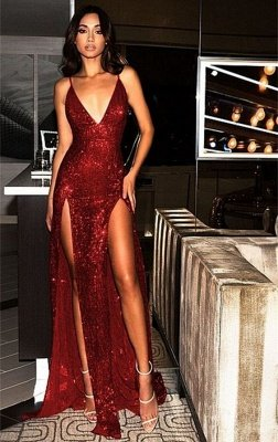 Sexy Sequined Spaghetti Strap Front Split Evening Gown_1