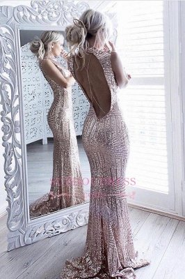 Sequins Sparkling Sheath Formal Dress Sexy Open-Back Sleeveless High Neck Prom Dress JJ0158