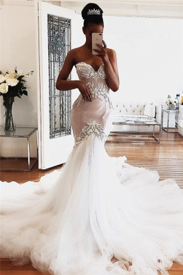 Sweetheart Lace Wedding Dresses Online | Sexy Sleeveless Mermaid Bridal Gowns_1