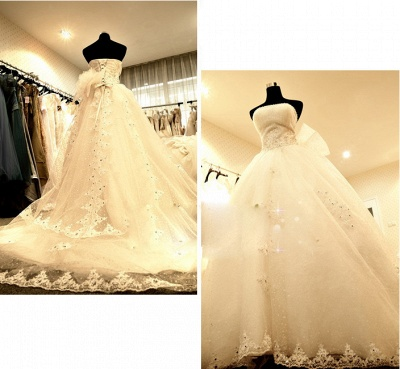 White Chapel Train Lace Bridal Gowns Strapless Lace-Up Sash Wedding Dresses_2