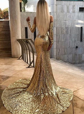 Wholesale Off The Shoulder Champagne Sequins Prom Dresses | Elegant Long Sleeve Side Slit Evening Gowns_3